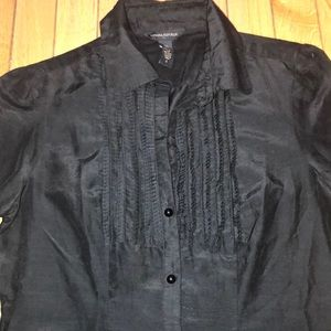 EUC BLACK FLAT RUFFLE SILK / COTTON BR BLOUSE